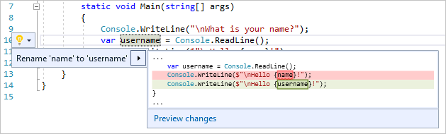 Rename action in Visual Studio