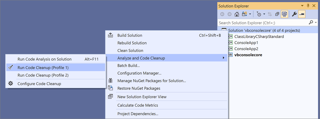Code style options and code cleanup - Visual Studio