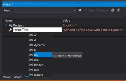 The new Watch window and format values feature in Visual Studio 2019