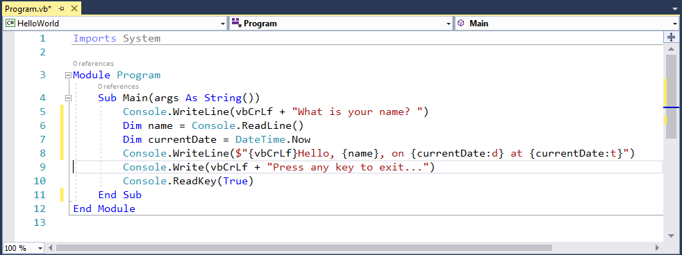 code window showing the what is your name code