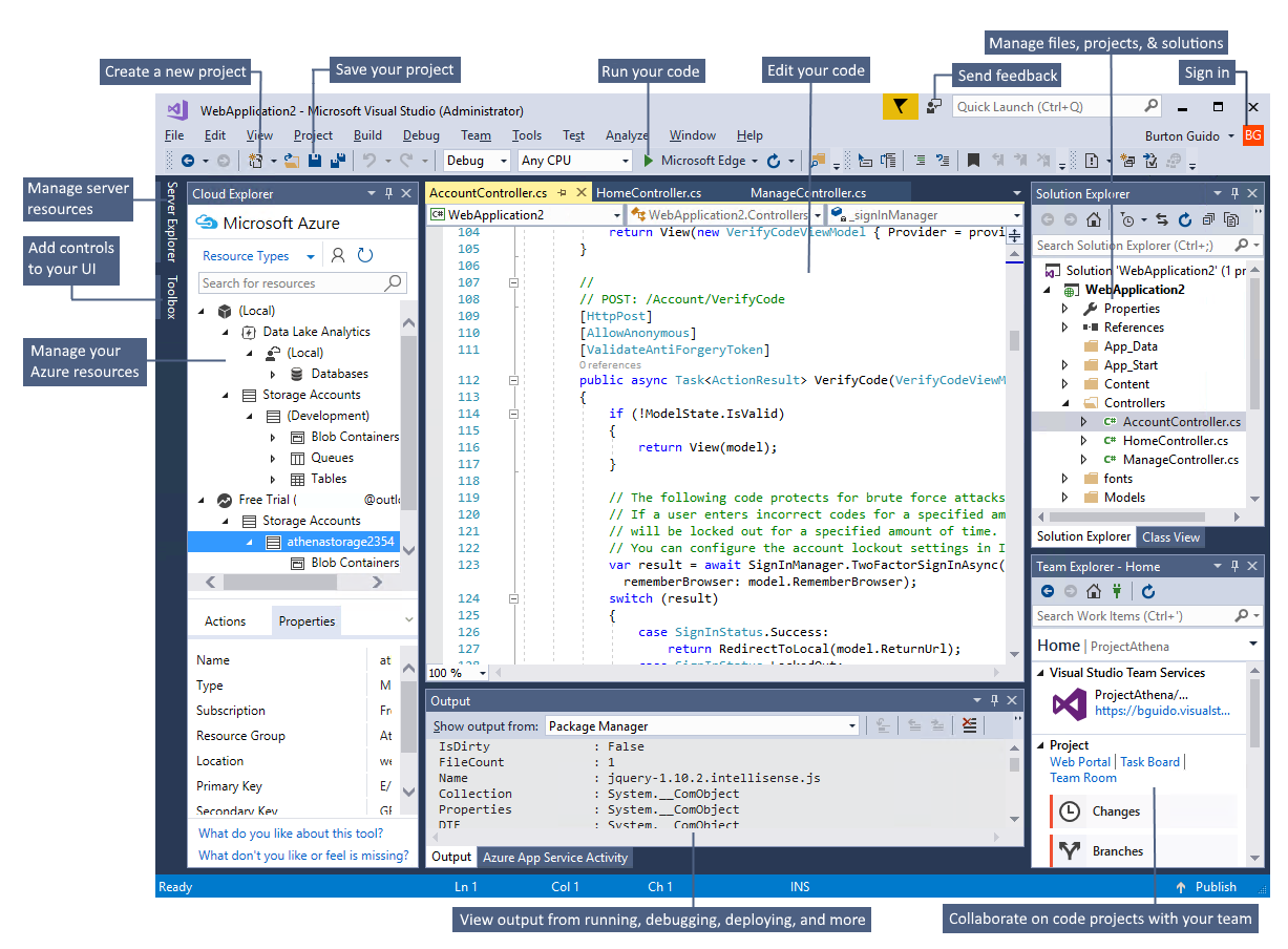 The Visual Studio IDE