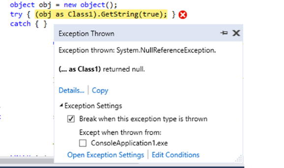The New Exception Helper dialog in Visual Studio