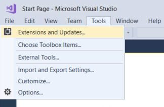 Visual Studio 2017 - Extensions and Updates dialog