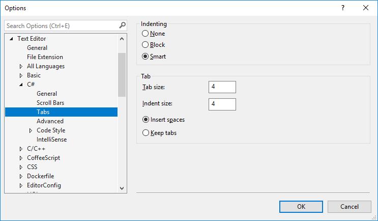 text editor tab setting