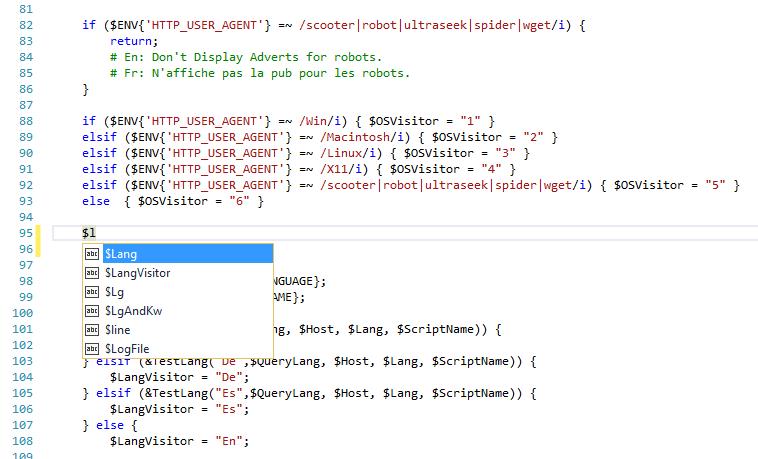 Syntax Colorization In Perl Script