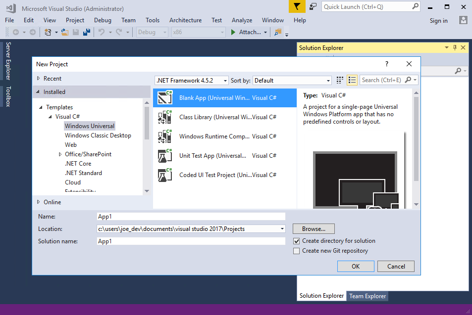 Visual studio ide overview microsoft docs this creates a new blank universal windows app project using visual c and xaml as the programming languages wait for a bit while visual studio sets up the ccuart Gallery