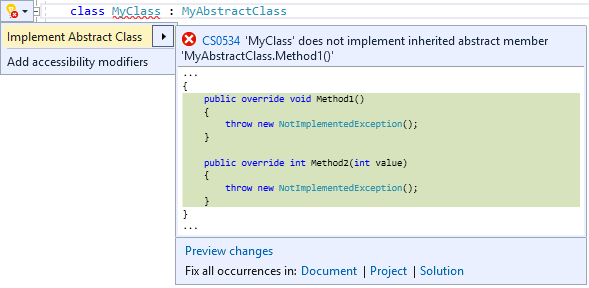 Implement An Abstract Class Visual Studio Microsoft Docs