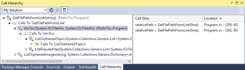 Call Hierarchy window