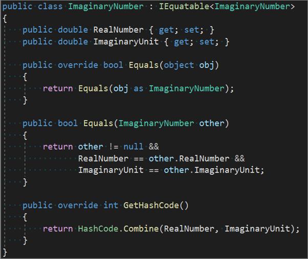 generate c equals and gethashcode method overrides visual studio