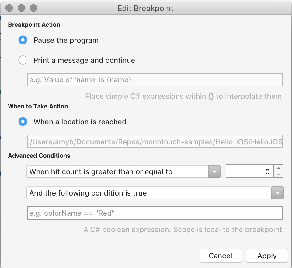 Debugging with Xamarin - Visual Studio 2019 for Mac