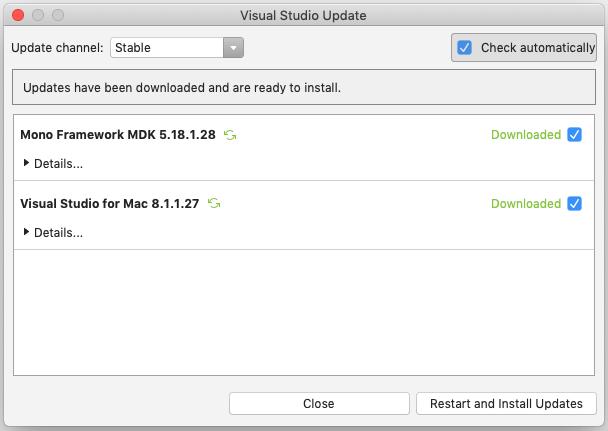Updating Visual Studio for Mac - Visual Studio 2017 for Mac