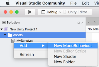 Using Visual Studio for Mac Tools for Unity - Visual Studio