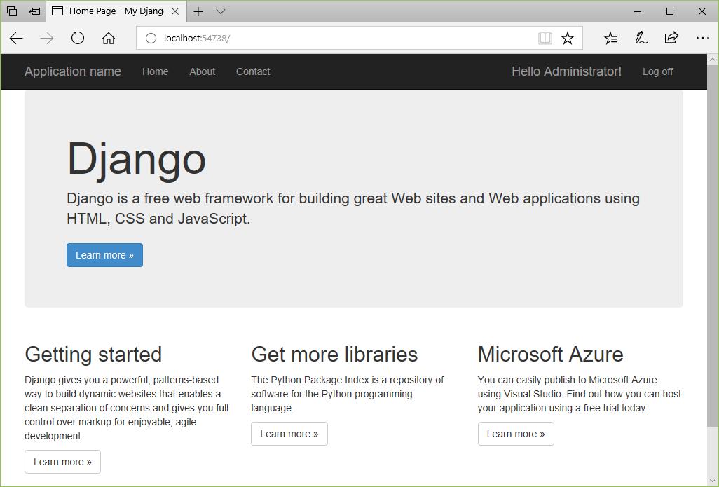 Tutorial - Learn Django in Visual Studio, step 4 - Visual Studio ...
