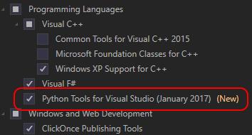 Python tools for visual studio installation.