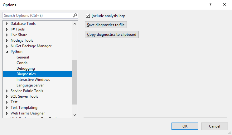 Python Options Dialog Diagnostics Tab