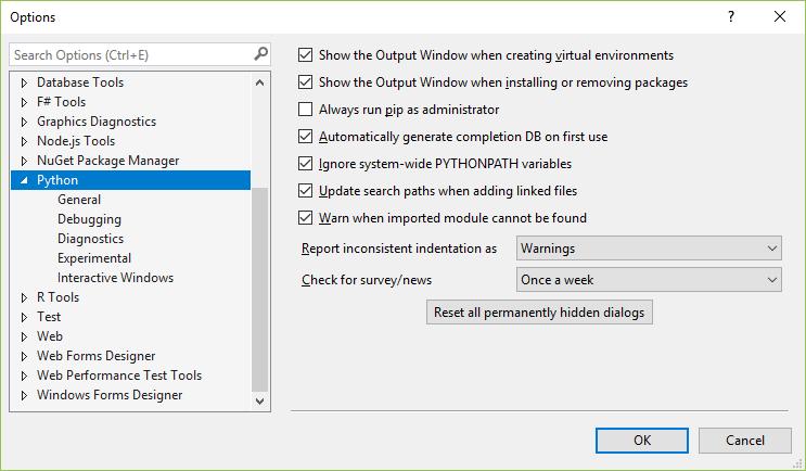 Python Options Dialog General Tab