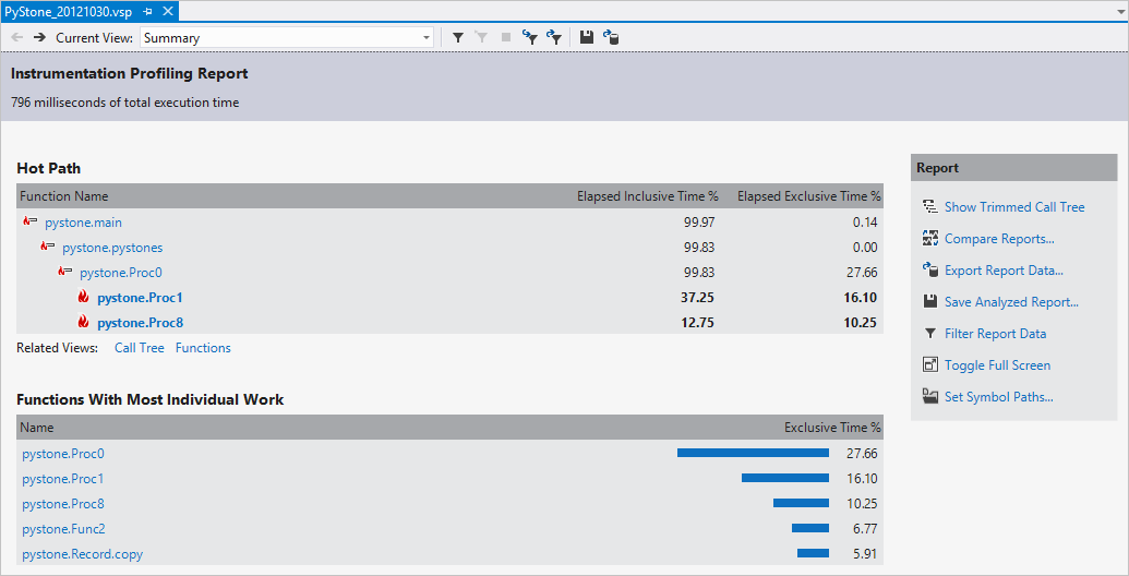 visual studio profiler results for a python project - Visual Basic Beispiele
