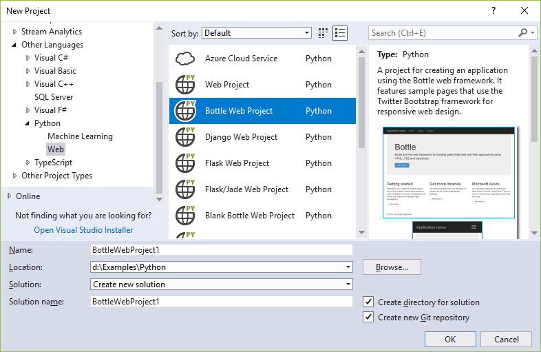 web application templates for python visual studio microsoft docs