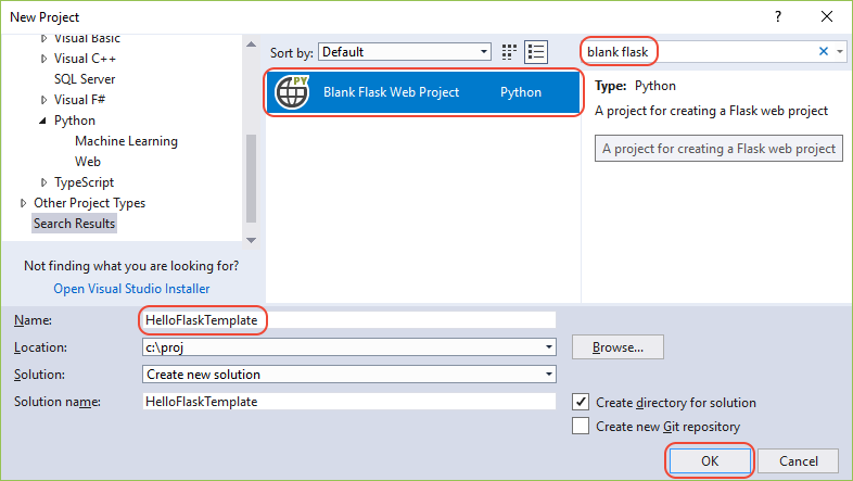 Quickstart create a python project using a template visual creating a new project with the blank flask web project template visual studio maxwellsz