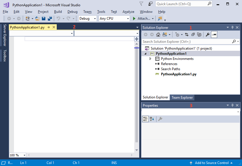 Python in visual studio tutorial step 1, create a project.