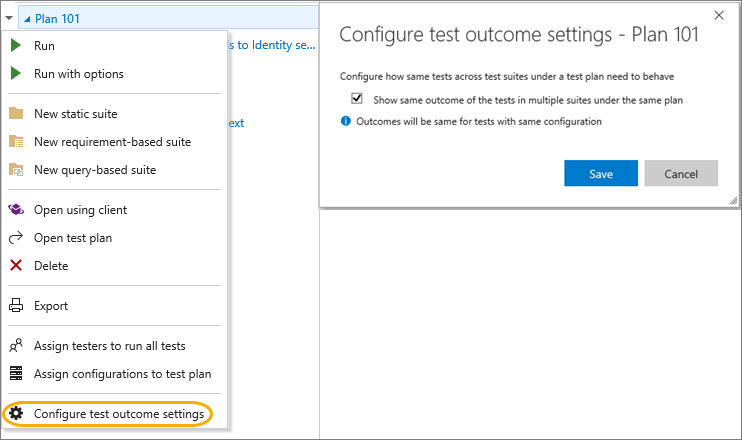 Team foundation server 2017 microsoft docs configure test outcomes for tests across different test suites fandeluxe Choice Image