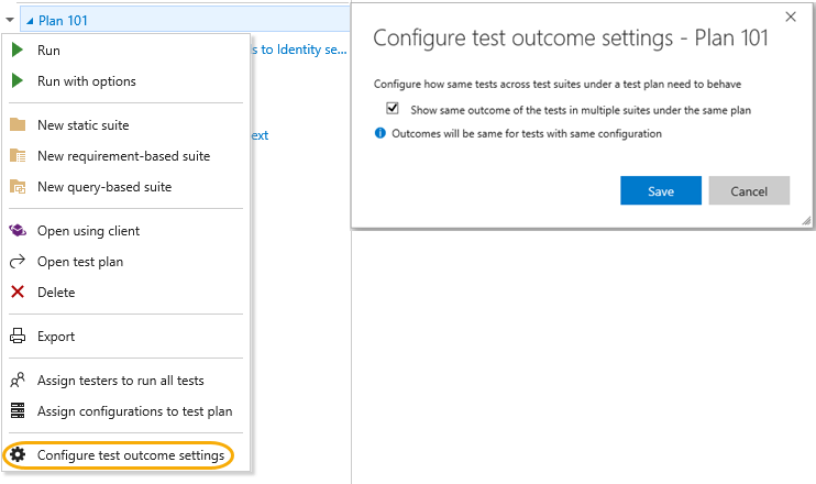 Configure test outcomes