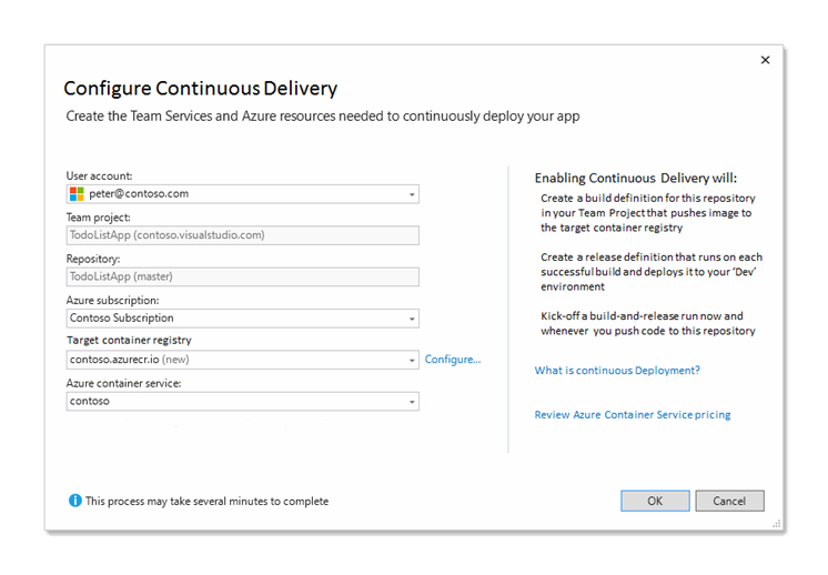 Continuous Delivery setup dialog for .NET Core project to Azure Container Service