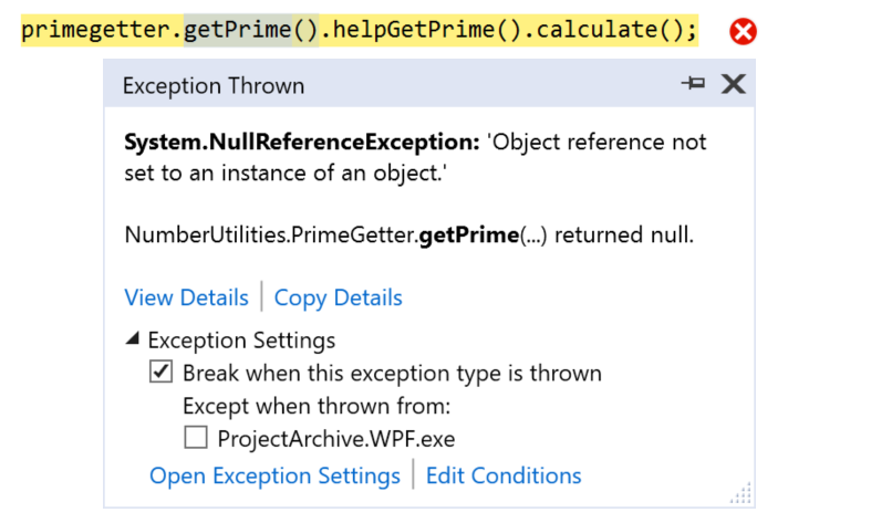 The New Exception Helper dialog