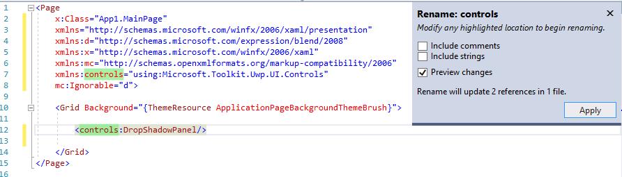 namespace prefix rename