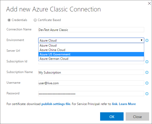 Deployment to national Azure clouds