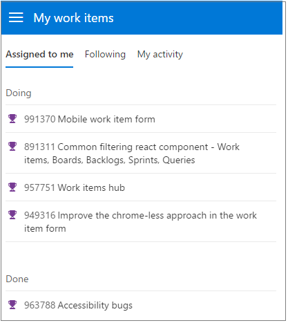 Mobile work item query