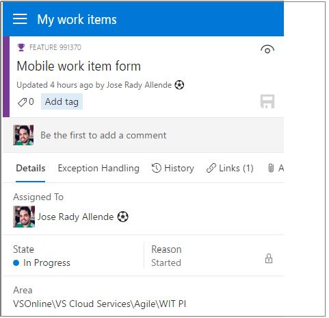 Mobile work item form