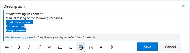 Task list toolbar