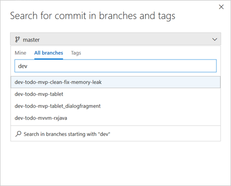 Search for a commit