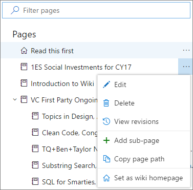 Wiki menu