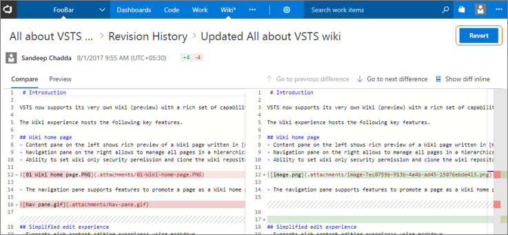 Team foundation server 2018 release notes microsoft docs wiki revert button fandeluxe Image collections