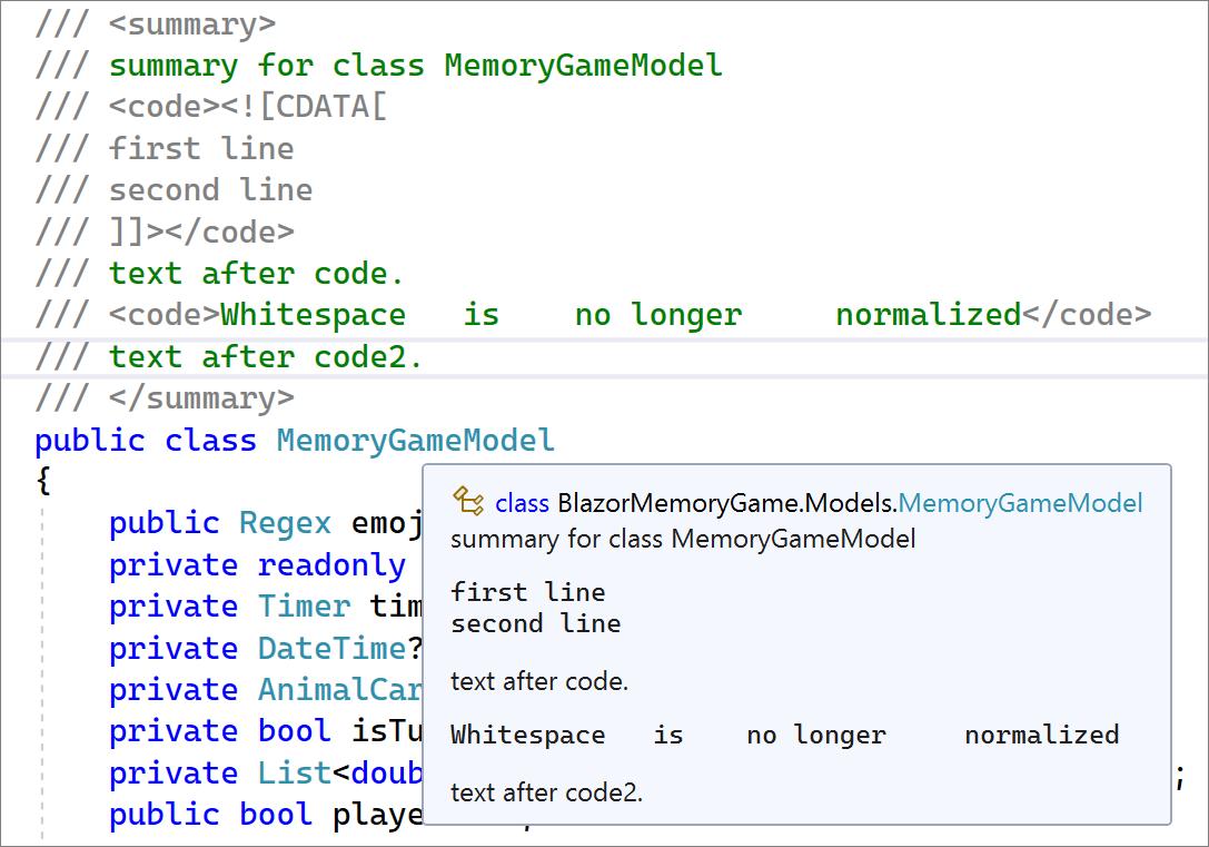 Quick Info for XML preserves whitespace