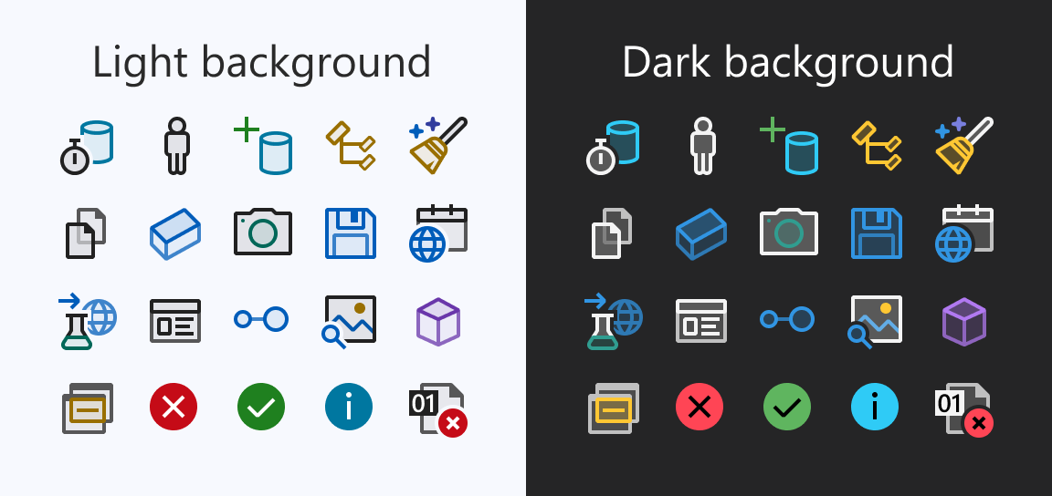 Examples of new icons with dark and light backgrounds
