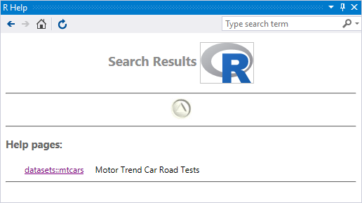 Help search results
