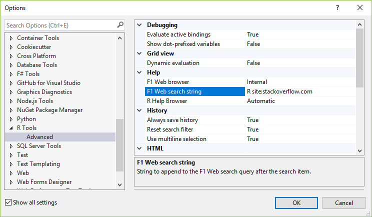 R tools options - Visual Studio | Microsoft Docs