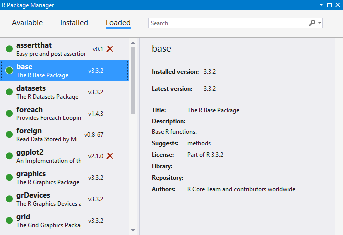 Package manager for R - Visual Studio | Microsoft Docs