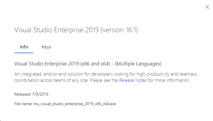 Downloading software titles in Visual Studio subscriptions