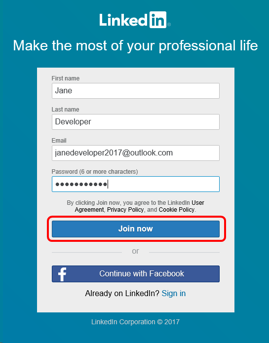 sign in linked in