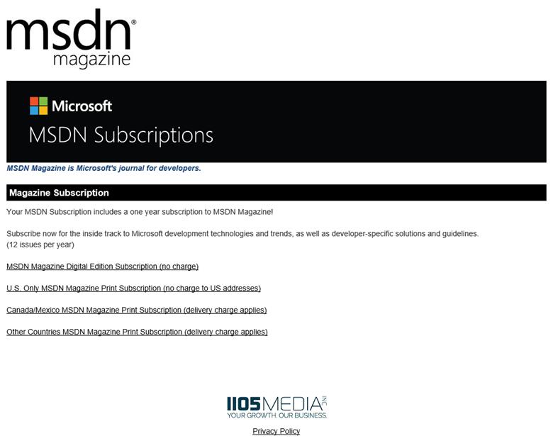 MSDN Magazine Benefit in Visual Studio Subscriptions | Microsoft Docs