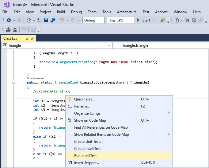 Right-click in your method to generate unit tests