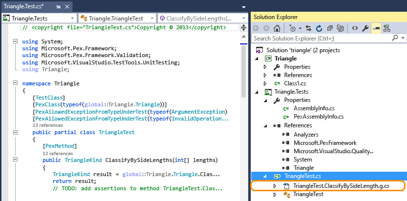 Open class file in test method to view unit test