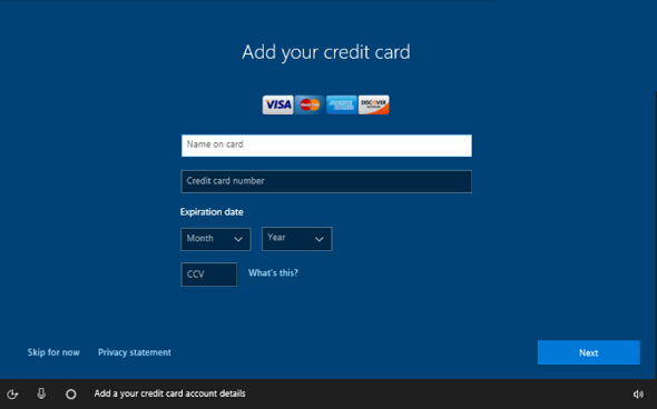 Add credit card information screen in OOBE