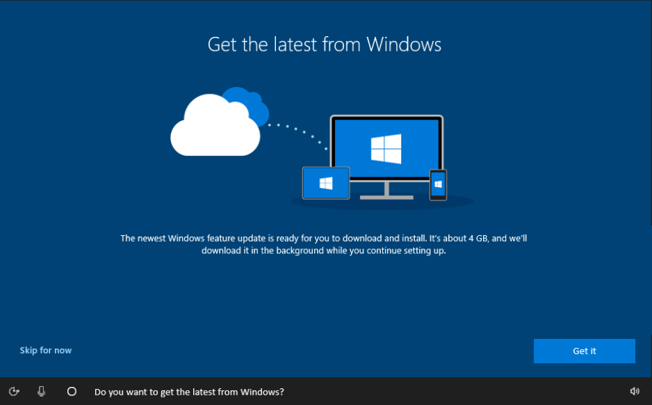 Get the latest from Windows screen in OOBE