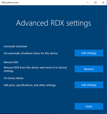 RDX screenshot: Advanced RDX Settings
