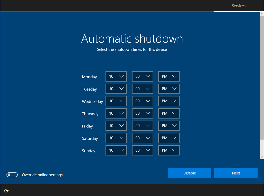 RDX screen: Automatic shutdown